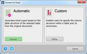 Able2Extract 12 Excel conversion options