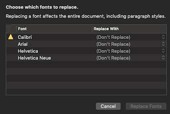 Able2Extract font replacement dialogue box