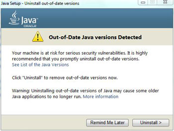 Java Out of Date