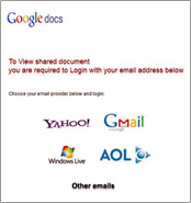 Realistic-looking Yahoo!, Gmail, Windows Live and AOL images in a fraudulent email.