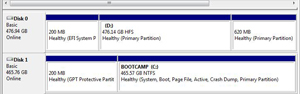 Windows Disk Management console showing the Macintosh (OS X) and Bootcamp (Windows) hard drives and partitions.