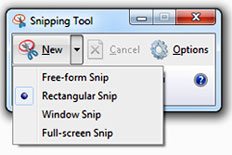 "Microsoft Snipping Tool showing the ""New"" menu extended."