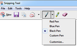 Microsoft Snipping Tool showing the pen options menu extended.