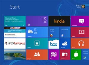 "Screen capture showing the Windows 8 default ""touch screen"" desktop"